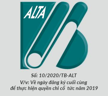 ALTA Thong bao chia co tuc 2019